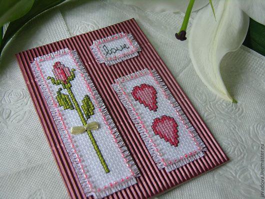 Валентинки ручной работы. Ярмарка Мастеров - ручная работа. Купить Love. Handmade. Ярко-красный, валентинка, любовь, роза, сердечки