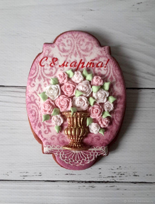 Пряничная открытка с цветами