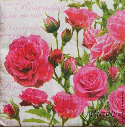 Декупаж и роспись ручной работы. Ярмарка Мастеров - ручная работа. Купить 9шт салфетки для декупажа розы цветы принт декупажный. Handmade.