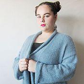 Одежда ручной работы. Ярмарка Мастеров - ручная работа Кардиган из итальянского кид- мохера большого размера(54-58). Handmade.