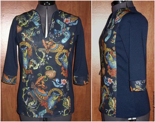 """Кофты и свитера ручной работы. Ярмарка Мастеров - ручная работа. Купить Блузка """" Совомания""""  неопрен / джерси. Handmade."""