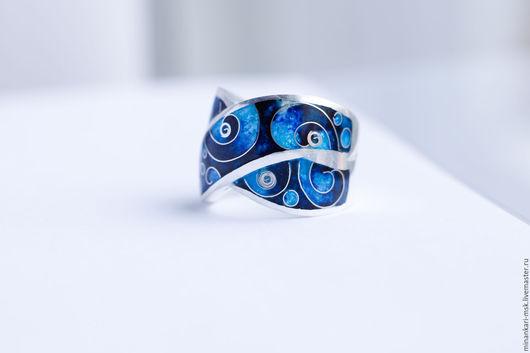 """Кольца ручной работы. Ярмарка Мастеров - ручная работа. Купить Кольцо """"Море внутри"""" серебряное с эмалью. Минанкари. Handmade."""
