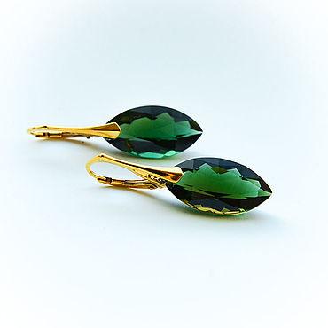 Decorations handmade. Livemaster - original item Earrings with green quartz in gold 24K. Handmade.