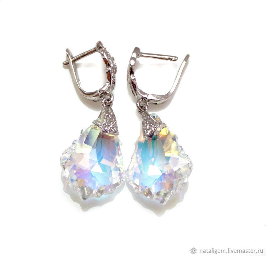 Earrings with Swarovski crystals moonlight Sonata, Earrings, Tuchkovo,  Фото №1