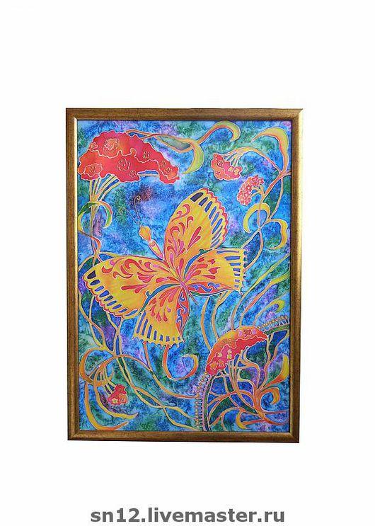 """Картины цветов ручной работы. Ярмарка Мастеров - ручная работа. Купить Панно """"Бабочка"""". Handmade. Холодный батик, цветы, бабочка"""