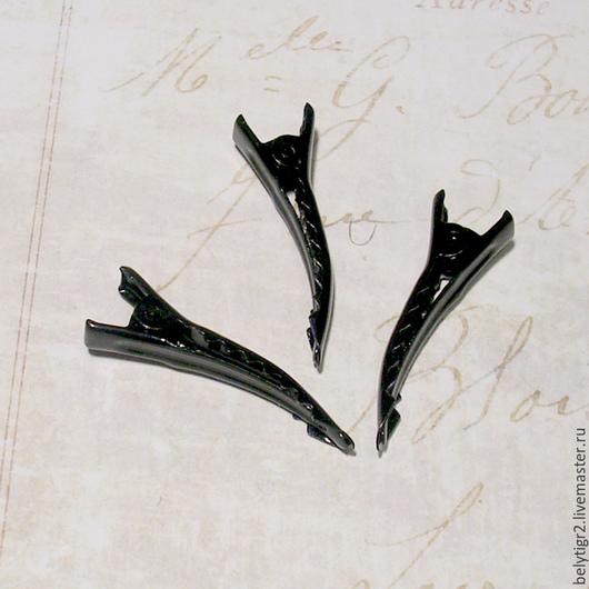 Основа для заколки (зажим), 35 х 6 мм, цинковый сплав, цвет черный, 1 шт