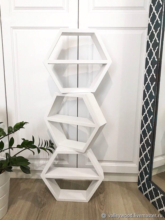 White wooden honeycomb shelves, Shelves, Tolyatti,  Фото №1