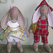 Куклы и игрушки ручной работы. Ярмарка Мастеров - ручная работа Интерьерная игрушка (Тильда) Кролики Афанасий и Фрося. Handmade.