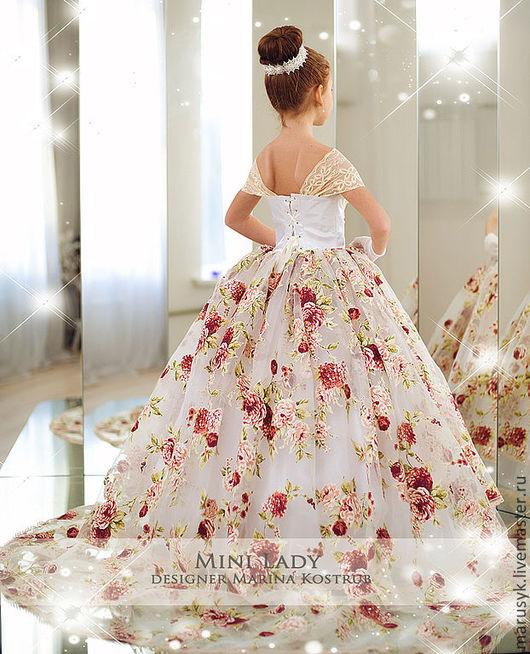 Одежда для девочек, ручной работы. Ярмарка Мастеров - ручная работа. Купить платье-Розовый рай. Handmade. Рисунок, платье вечернее