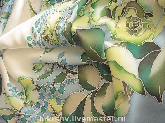 """Шали, палантины ручной работы. Ярмарка Мастеров - ручная работа. Купить Платок """"Розы"""". Handmade. Розы, желтый цветок, атлас"""