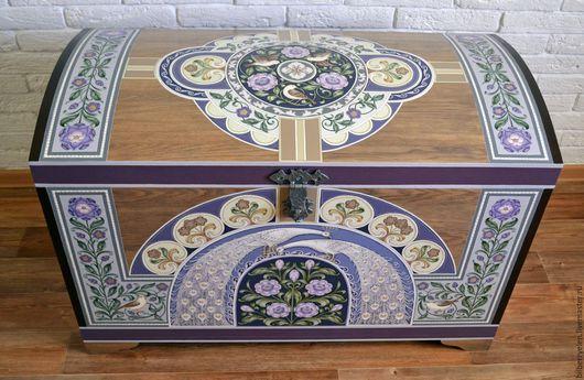 Мебель ручной работы. Ярмарка Мастеров - ручная работа. Купить Сундук деревянный с росписью. Handmade. Комбинированный, дубовая мебель, цветы