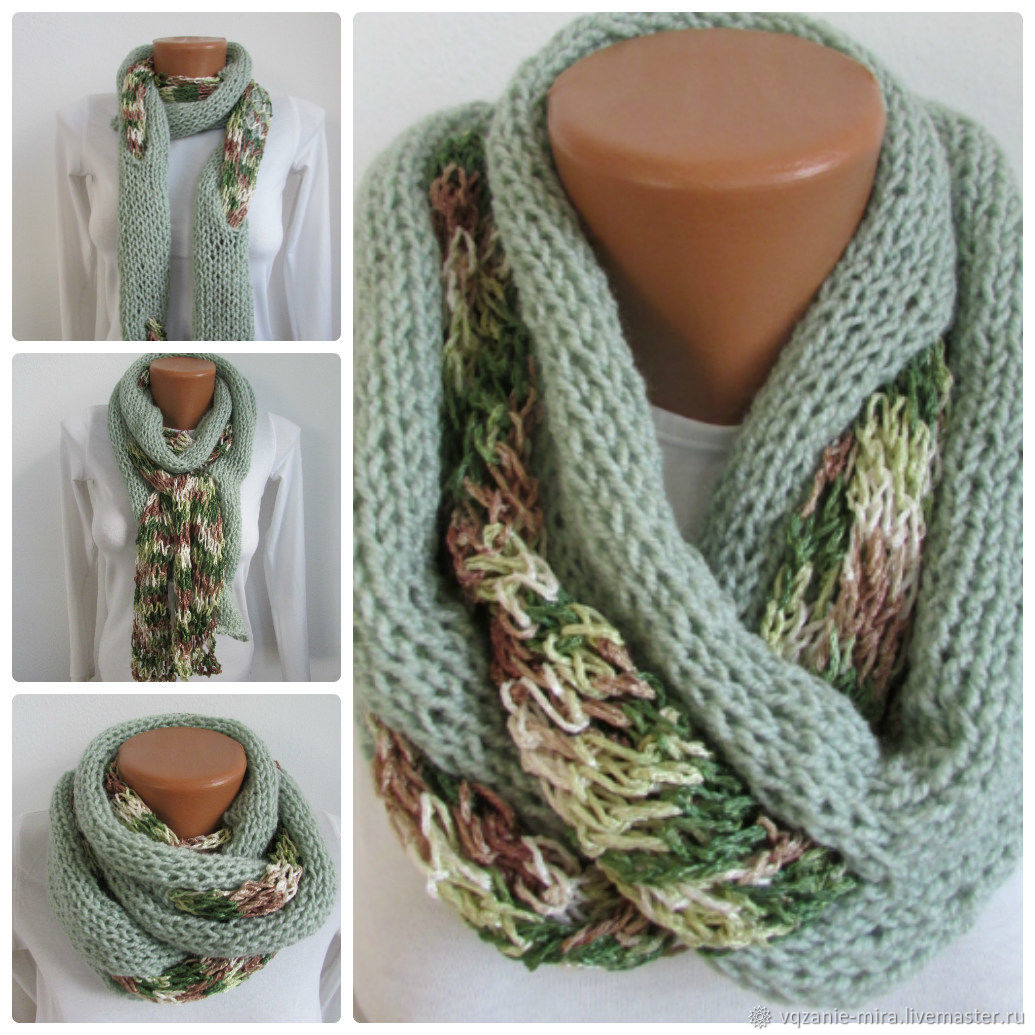 Women's scarf knitted from acrylic cotton and viscose spring summer scarf, Scarves, ,  Фото №1
