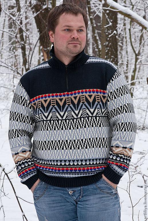 Кофты и свитера ручной работы. Ярмарка Мастеров - ручная работа. Купить свитер вязаный тёплый мужской  Богатырь с орнаментом. Handmade.