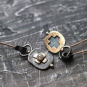 Украшения ручной работы. Ярмарка Мастеров - ручная работа NOUVELLE BOURGEOISIE серьги (алмаз, серебро, золото, латунь). Handmade.