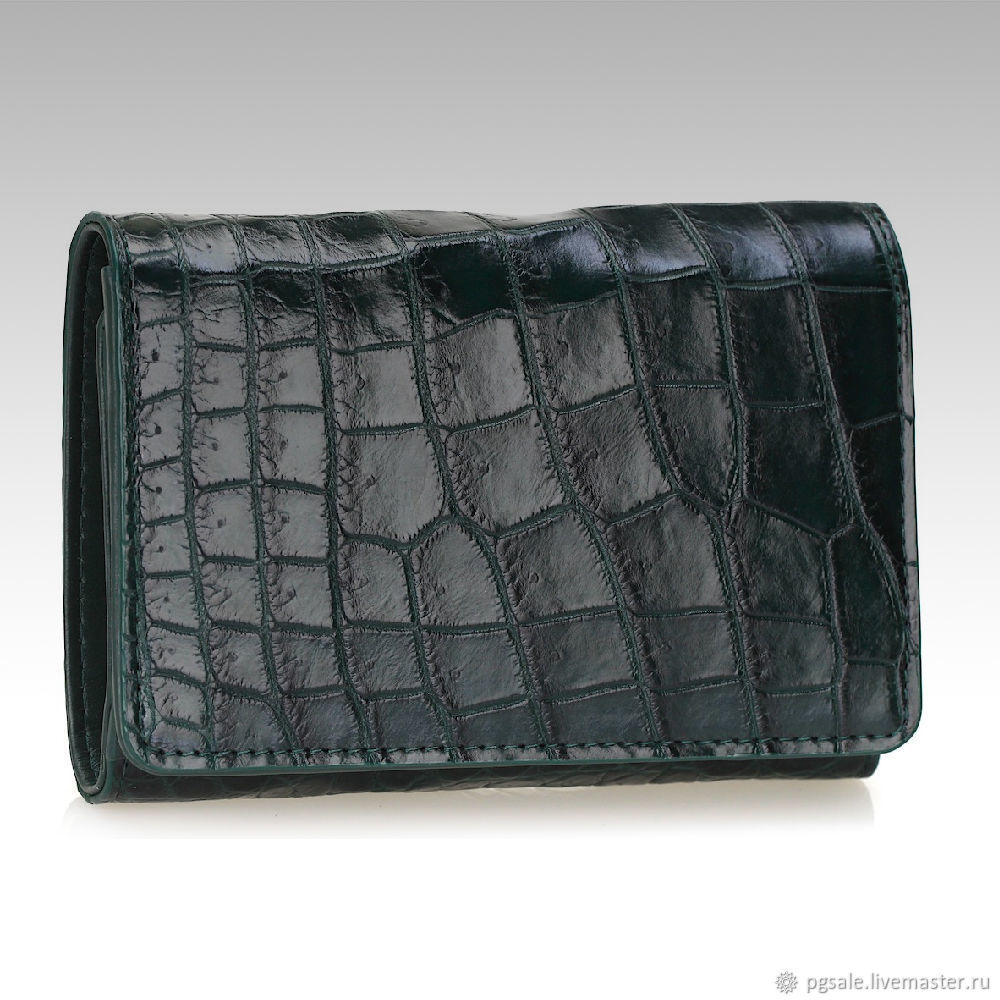 Purse ladies leather belly crocodile green