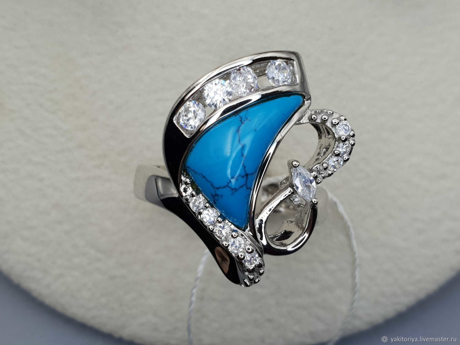 Silver ring with turquoise 13h8 mm and cubic zirconia, Rings, Moscow,  Фото №1