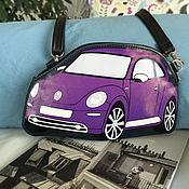 Классическая сумка ручной работы. Ярмарка Мастеров - ручная работа Фольксваген Жук сумка автомобиль из кожи или экокожи. Handmade.