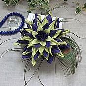 Украшения handmade. Livemaster - original item Brooch flower leather purple-light green with peacock feather. Handmade.