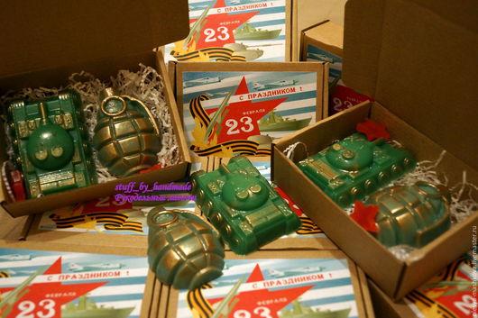 Подарочные наборы косметики ручной работы. Ярмарка Мастеров - ручная работа. Купить Мыльный набор к 23 февраля (лимонка и танк). Handmade.