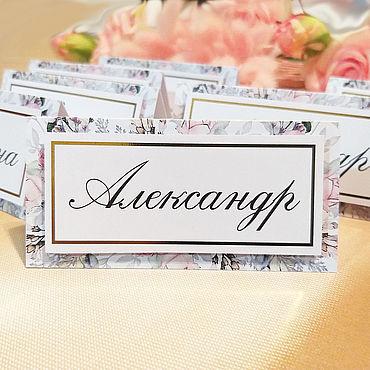 Свадебный салон ручной работы. Ярмарка Мастеров - ручная работа Рассадочные карточки с принтом и фольгированием. Handmade.