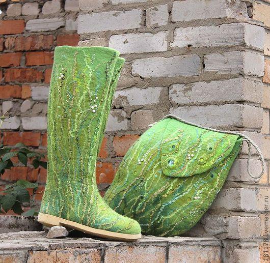 """Обувь ручной работы. Ярмарка Мастеров - ручная работа. Купить Валенки и сумка """"Шепот трав"""". Handmade. Ярко-зелёный"""