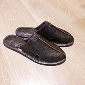 Обувь ручной работы. Ярмарка Мастеров - ручная работа Мужские кожаные тапки М-3 кокос. Handmade.