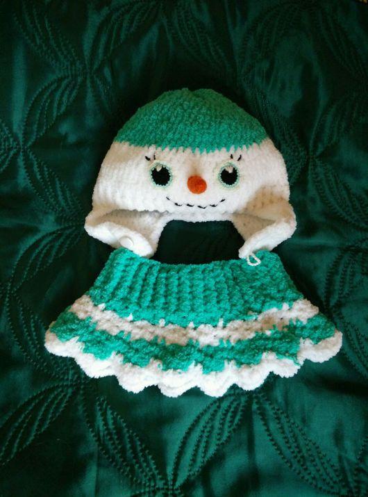 Шапки и шарфы ручной работы. Ярмарка Мастеров - ручная работа. Купить Комплект «Снеговичок» шапка+манишка. Handmade. Шапочка, зимний комплект