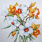 """Картины и панно ручной работы. Ярмарка Мастеров - ручная работа Рисунок """"Нарциссы"""" акварель. Handmade."""