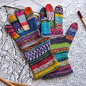 """Вязаные перчатки шерстяные """"Scrappy gloves"""" с люрексом"""