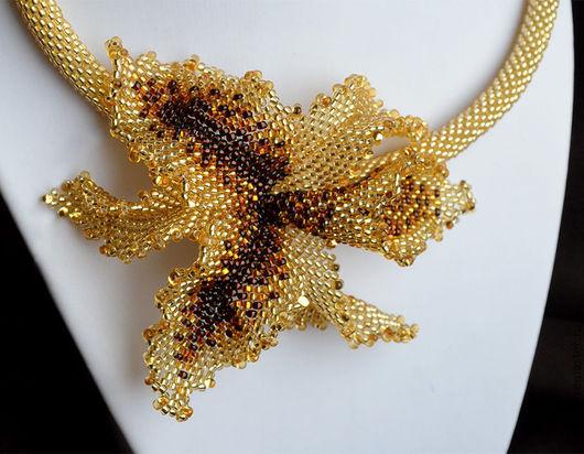 """Колье, бусы ручной работы. Ярмарка Мастеров - ручная работа. Купить Колье """"Тигровая орхидея"""". Handmade. Золотой, украшение из бисера"""