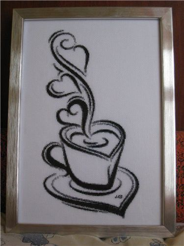 Натюрморт ручной работы. Ярмарка Мастеров - ручная работа. Купить Чашка кофе. Handmade. Канва, мулине мдс (dmc), мулине