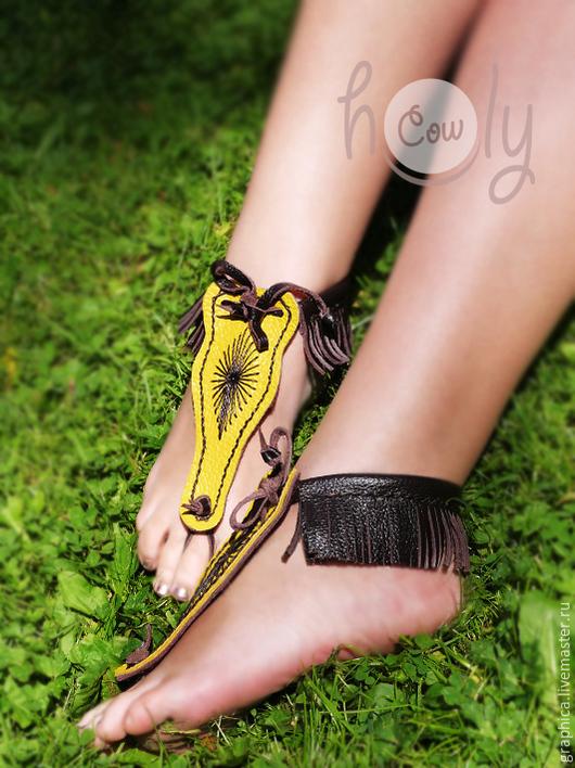 """Украшения для ножек ручной работы. Ярмарка Мастеров - ручная работа. Купить Босые кожаные сандалии """"Yellow Sun"""". Handmade."""