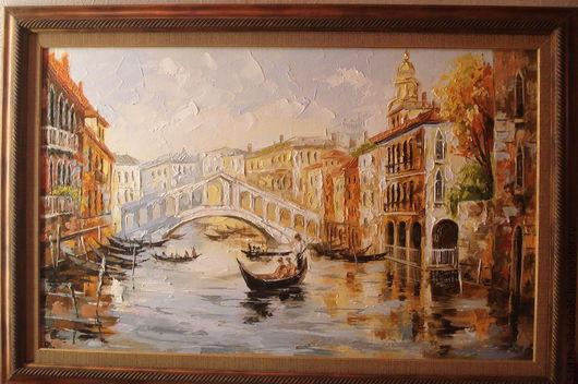 Город ручной работы. Ярмарка Мастеров - ручная работа. Купить Венеция-мост Риальто. Handmade. Картина, картина в подарок