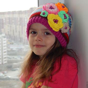 """Работы для детей, ручной работы. Ярмарка Мастеров - ручная работа """" Радуга """" вязаная детская шапочка. Handmade."""