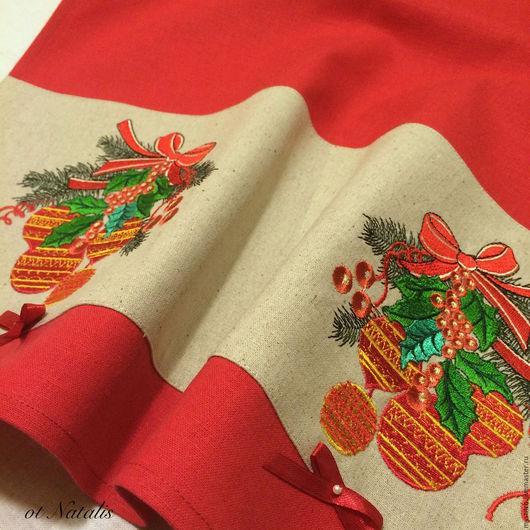 """Текстиль, ковры ручной работы. Ярмарка Мастеров - ручная работа. Купить Полотенце из льна """"Новогодние шары -2"""". Handmade. Полотенце"""