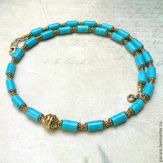 Колье, бусы ручной работы. Ярмарка Мастеров - ручная работа. Купить Ожерелье (чокер) с натуральной голубой Бирюзой (бусы с бирюзой). Handmade.