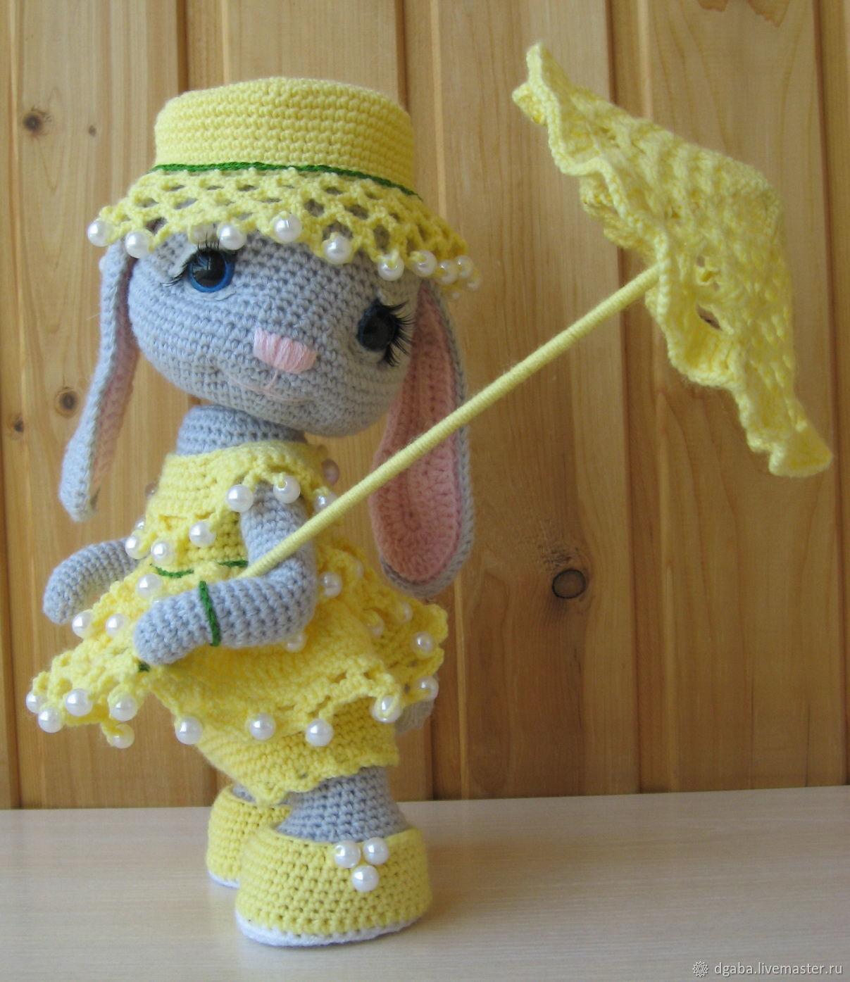Игрушки животные, ручной работы. Ярмарка Мастеров - ручная работа. Купить Зайка с зонтом. Handmade. Вязание крючком, ручная вязка