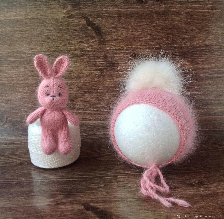 Комплект для фотосессии новорожденных из ангоры:шапочка и игрушка, Аксессуары для фотосессии, Пенза,  Фото №1