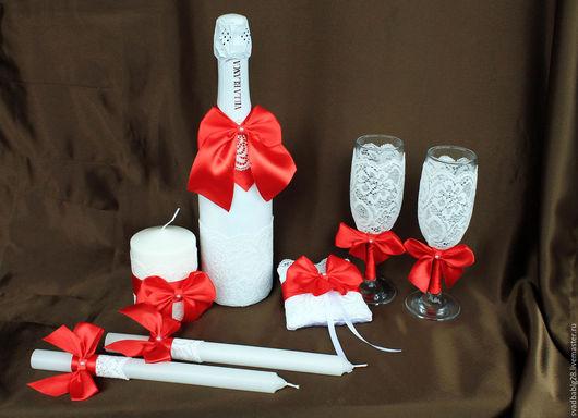 Свадебные аксессуары ручной работы. Ярмарка Мастеров - ручная работа. Купить Свадебный набор в бело-красных тонах. Handmade. свадьба