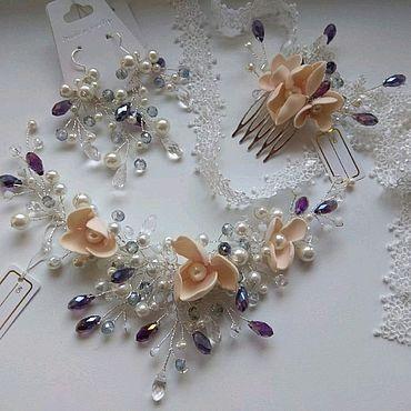 Свадебный салон ручной работы. Ярмарка Мастеров - ручная работа Комплект для невесты (серьги + цветочный венок + гребень). Handmade.
