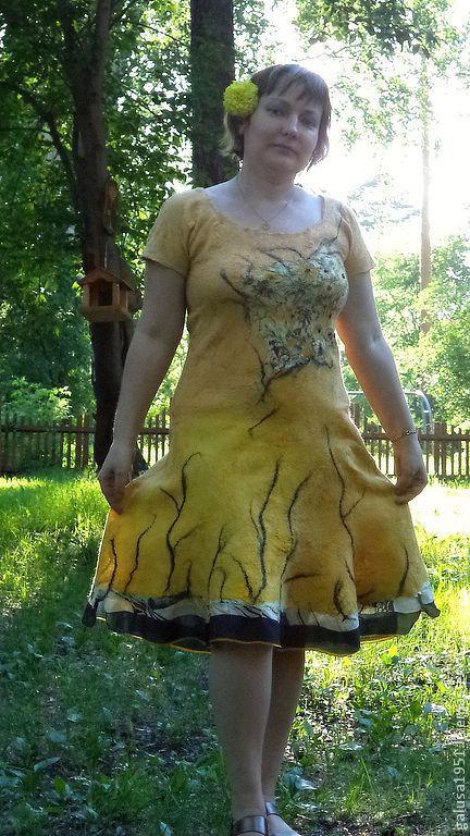 """Платья ручной работы. Ярмарка Мастеров - ручная работа. Купить Валяное платье """" Букет"""". Handmade. Желтый, Коктейльное платье"""