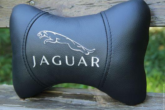 Автомобильные ручной работы. Ярмарка Мастеров - ручная работа. Купить Jaguar.Автоподушка для шеи.Натуральная кожа. Handmade. Черный