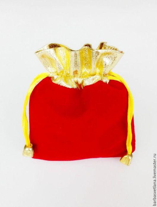 Упаковка ручной работы. Ярмарка Мастеров - ручная работа. Купить Бархатный мешочек для украшений 10х12 Красный с золотом. Handmade.