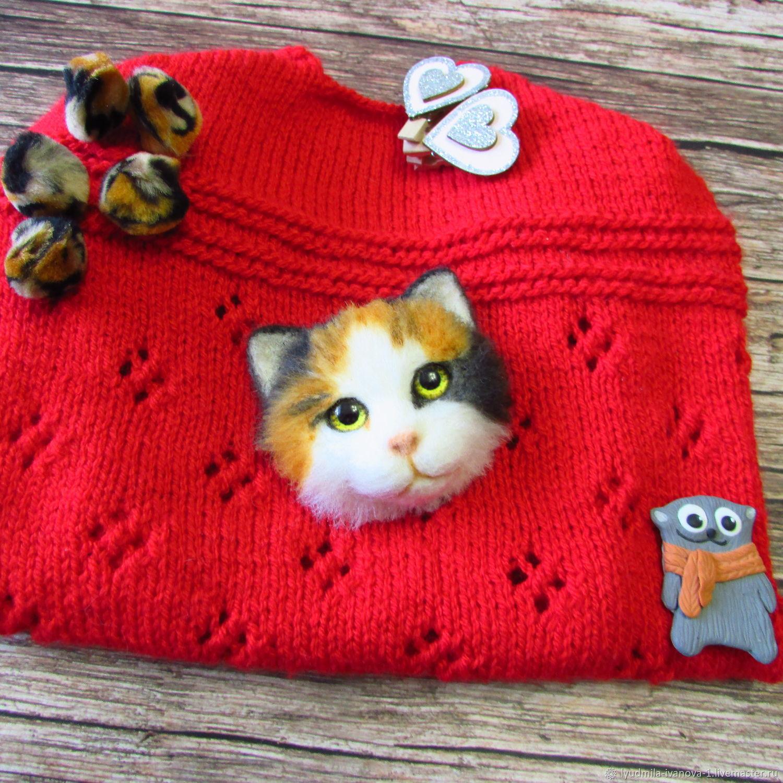 Брошь из шерсти кот брошка кошка, Брошь-булавка, Тамбов,  Фото №1