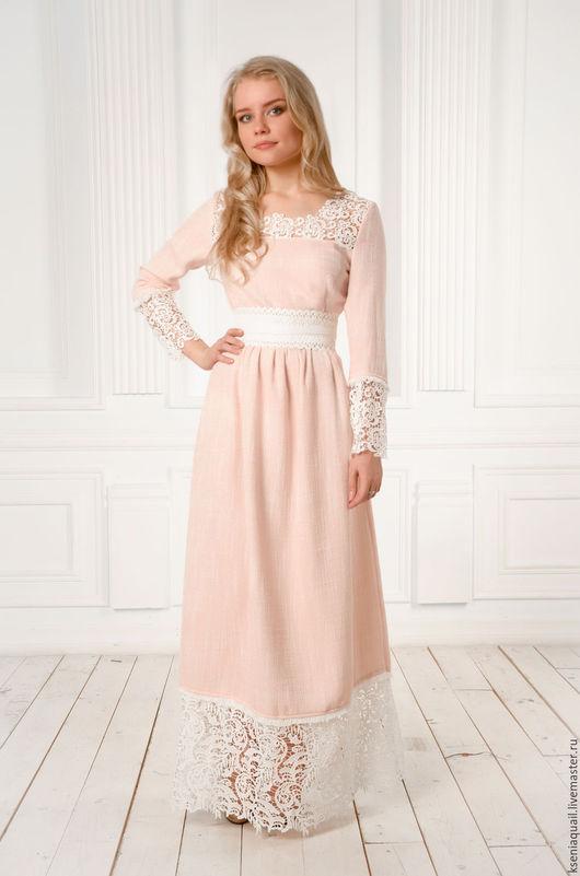 """Платья ручной работы. Ярмарка Мастеров - ручная работа. Купить Платье """"Любавушка""""  макси длина розовое. Handmade. Бледно-розовый"""
