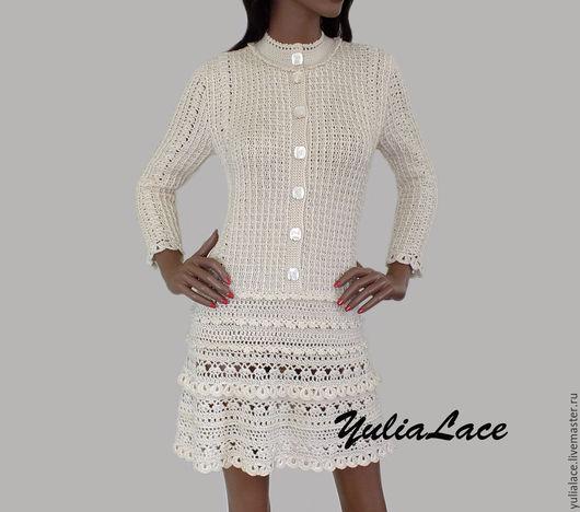 Платья ручной работы. Ярмарка Мастеров - ручная работа. Купить Вязаное платье. Handmade. Бежевый, платье из полушерсти, платье вязаное