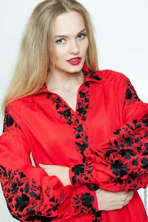 Красное платье с вышивкой купить