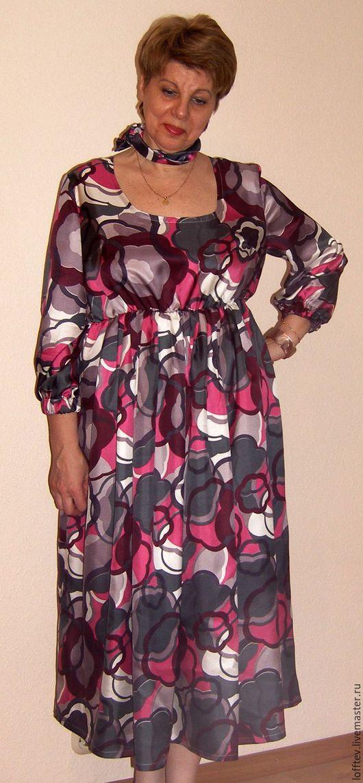 Платья ручной работы. Ярмарка Мастеров - ручная работа. Купить Платье шелковое Миди. Handmade. Фуксия, Свободный стиль