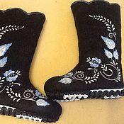 """Обувь ручной работы. Ярмарка Мастеров - ручная работа Валенки """" Гжель на черном фоне """"Готоавя работа"""". Handmade."""