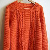 """Одежда ручной работы. Ярмарка Мастеров - ручная работа Джемпер вязаный """"Orange"""" из 100% мериносовой шерсти Италии. Handmade."""